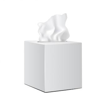 Caixa quadrada branca com guardanapos de papel. embalagem de maquete de vetor realista