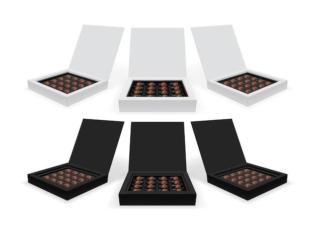 Caixa quadrada com chocolates isolados no fundo branco