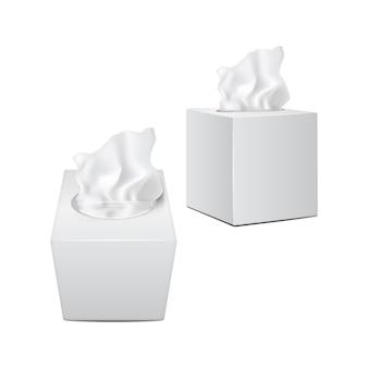 Caixa quadrada com guardanapos de papel. embalagem realista branca