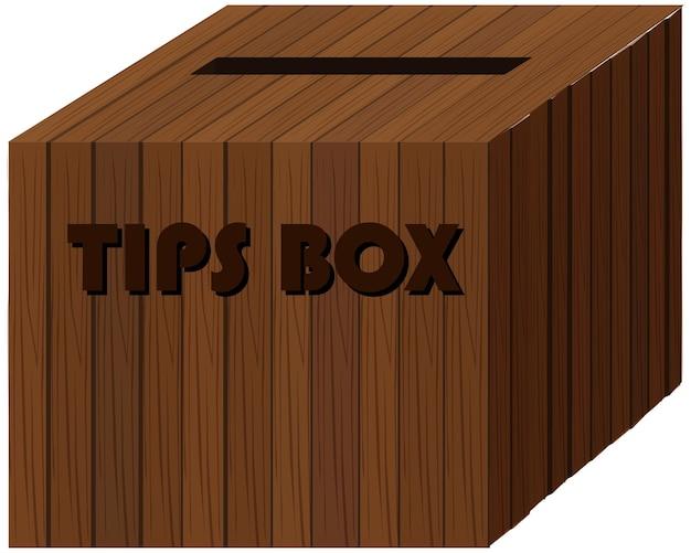 Caixa quadrada de madeira para dicas