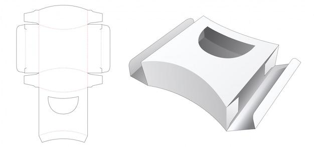 Caixa quadrada lateral curva com modelo de janela cortada à curva