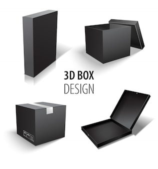 Caixa que empacota o grupo da caixa negra 3d. conjunto de entrega de pacotes de tamanhos diferentes.
