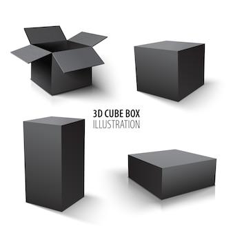 Caixa que empacota o grupo da caixa negra e do cubo 3d. conjunto de caixas de papelão abertas e cubo.
