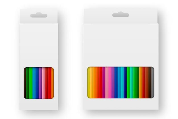 Caixa realista de conjunto de ícones de lápis de cor, close-up isolado