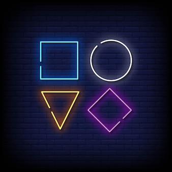 Caixa redonda e triangular sinais de néon estilo texto vector