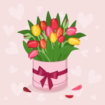 Caixa redonda elegante com um adesivo para texto com corações de tulipas rosa brancas vermelhas amarelas e envelopes para ...