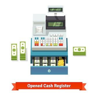 Caixa registrada aberta, papel-moeda e moedas no interior