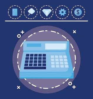 Caixa registradora com conjunto de ícones finanças da economia