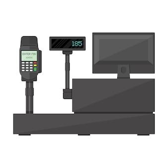 Caixa registradora com display, terminal de pagamento.