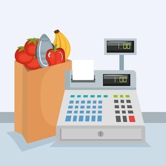 Caixa registradora de supermercado com produtos