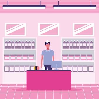 Caixa registradora de supermercado