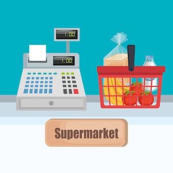 Caixa registradora do supermercado com cesta de compras
