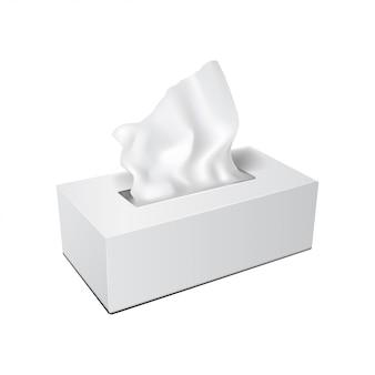 Caixa retangular branca com guardanapos de papel. embalagem de maquete de vetor realista