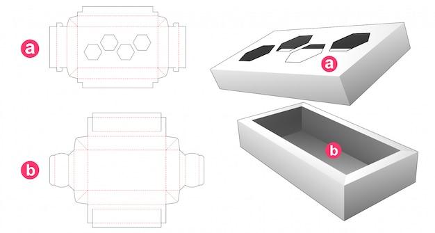 Caixa retangular de 2 peças com 4 modelos de corte e vinco em forma de hexágono