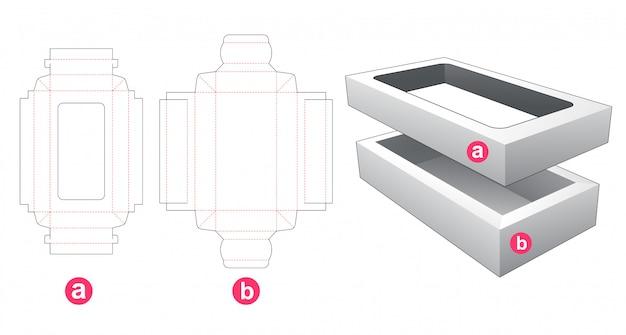 Caixa retangular de 2 peças com modelo cortado em tampa da janela