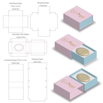 Caixa rígida de manga para maquete de sabão com dieline