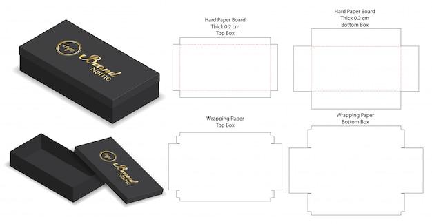 Caixa rígida embalagem die cut modelo 3d mockup