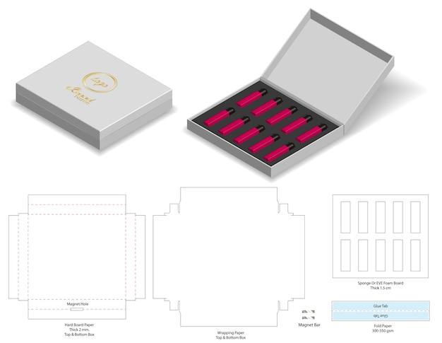 Caixa rígida papel caixa rígida 3d maquete com dieline