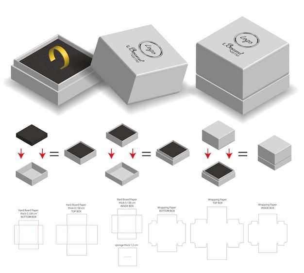 Caixa rígida para maquete de produto de anel com dieline