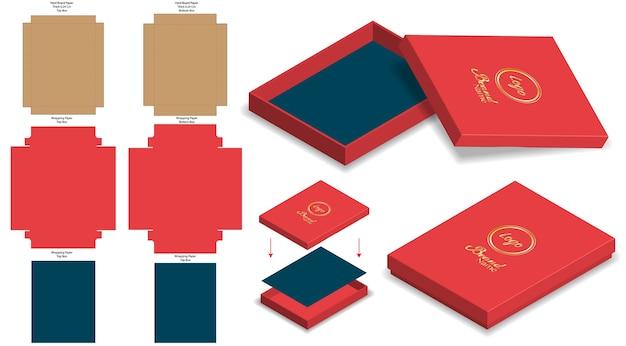Caixa rígida rígida maquete 3d com modelo de dieline