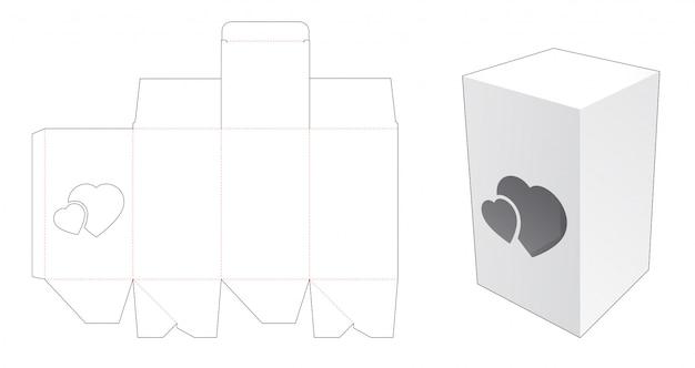 Caixa simples com janela cortada de 2 corações