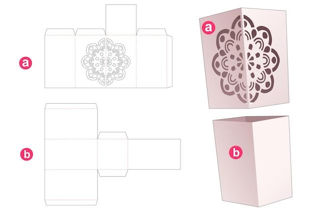 Caixa simples de papelão e capa com molde recortado de mandala estampado