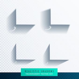 Caixa sombra transparente conjunto com bordas suaves realistas