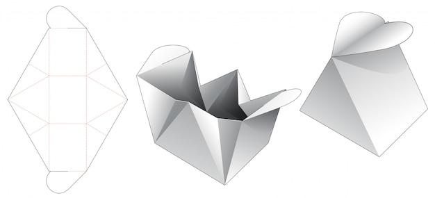 Caixa triangular com modelo de corte e vinco de abertura de coração