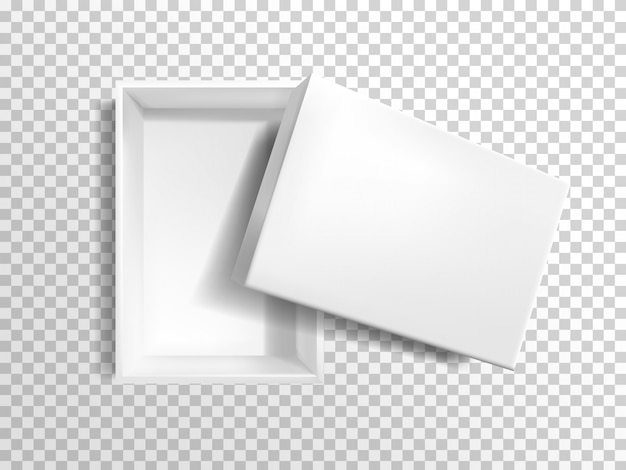 Caixa vazia branca realística 3d