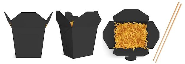 Caixa wok com maquete de macarrão e palitos