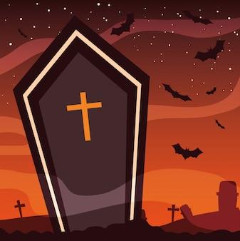 Caixão assustador em cena de halloween