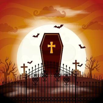 Caixão de halloween assustador na ilustração do cemitério