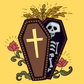 Caixão de halloween com esqueleto.