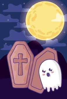 Caixão de madeira com cruz cristã na cena de halloween