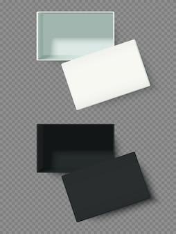 Caixas abertas, brancas e pretas, isoladas, ilustração vetorial