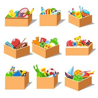 Caixas com conjunto de brinquedos de criança