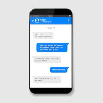 Caixas de bate-papo ao vivo do celular. janela do messenger.