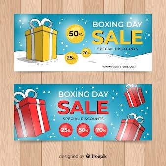 Caixas de boxe dia venda banner