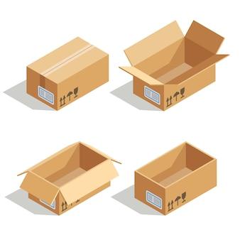 Caixas de cartão abertas e fechadas