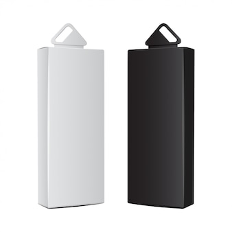 Caixas de cartão brancas e pretas com orifício de suspensão de plástico. embalagem realista. caixa de software