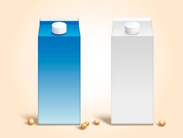 Caixas de cartão de leite de soja em branco definidas em estilo 3d com grãos de soja