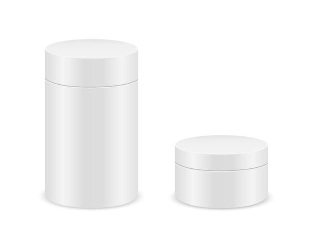 Caixas de cilindro brancas isoladas no fundo branco. maquete de pacote de papelão tubo para design de produto. recipientes em branco para presentes, comida, chá, café. ilustração realística do vetor.