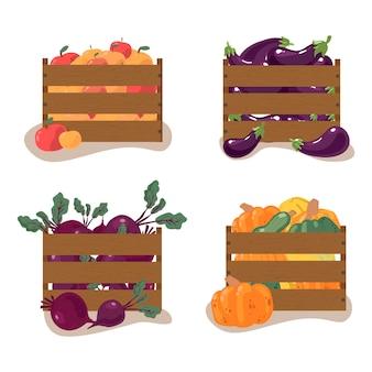 Caixas de colheita de outono de frutas e vegetais, maçãs, abóbora, beterraba, berinjela, elementos do vetor