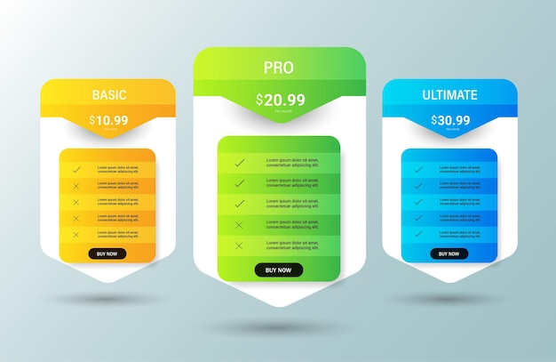 Caixas de comparação de tabela de preços criativos.