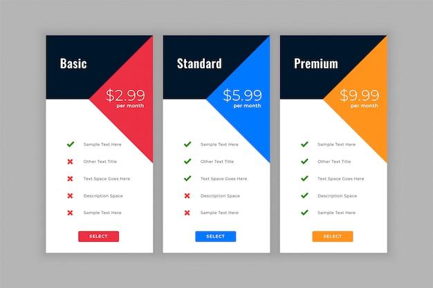 Caixas de comparação de tabela de preços de estilo geométrico
