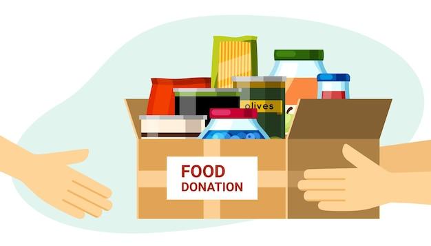 Caixas de doação com ilustração de comida enlatada. alimentos preparados na hora, embalados em potes lacrados, ajudando pessoas necessitadas e pobres, oferecendo instituições de caridade e salvando da fome. bondade de vetor.