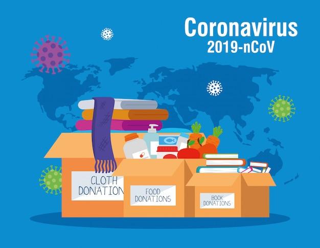 Caixas de doação de papelão, assistência social, durante o coronavírus