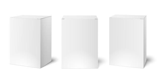 Caixas de embalagem de papelão branco em branco