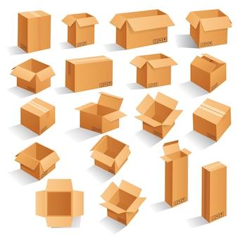 Caixas de embalagem de papelão marrom.