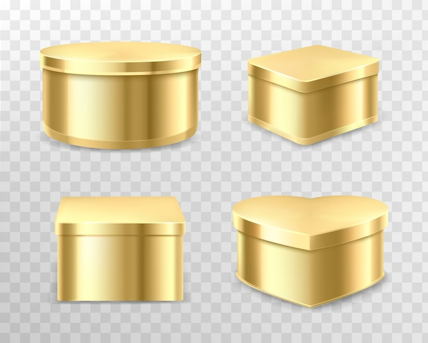 Caixas de lata de presente dourado para chá, café ou doces